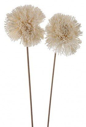 Star maxi flowers on stem, 6 pcs/pkg - white