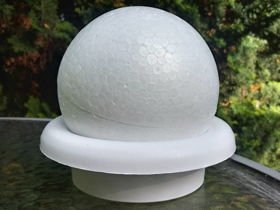 Styrofoam ball on a 12 cm white base