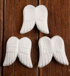 Styrofoam balls angel wings 6/8 cm, Price per pack of 6 pieces