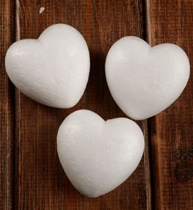 Styrofoam hearts 5.5 cm Styrofoam heart 55 mm 6 pcs / pack