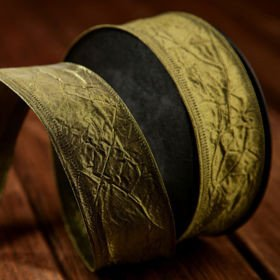 Taffeta ribbon with wire width 40 mm length 10 m dark olive