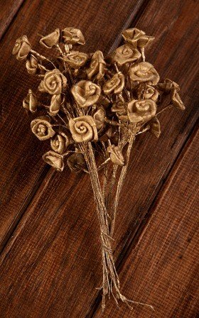 Titonia flowers on wire 2-3cm- 30 pcs/pkg -gold