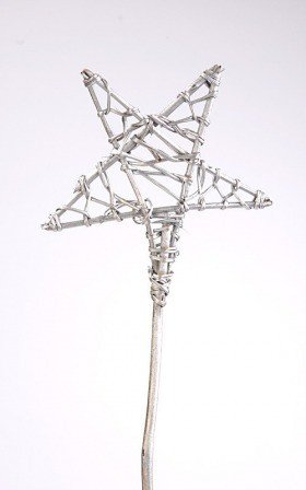 Weaved star on stick 15/70cm silver