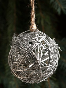 Wicker ball 6 cm silver