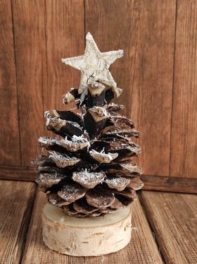 Winter headdress, pine cone on a birch base 8-16 cm
