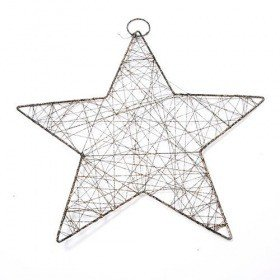 Wiry star-hanger, gold with glitter, 25 cm