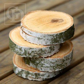 Wood slice for decoration, birch 4-6 cm thick. 1-2 cm pack of 4
