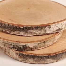 Wood slice for decoration, birch 7-10 cm thick. 1-2 cm pack of 3