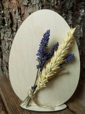 Wooden 15 cm egg decorated with grain and lavender. Natural product