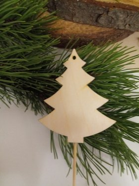 Wooden Christmas decorations 10 cm wooden Christmas trees on the peak 22 cm-3 pcs / pack