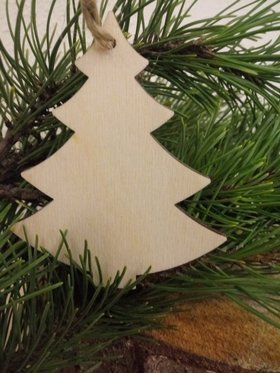 Wooden Christmas decorations Christmas trees wooden pendants 10 cm-4 pcs / pack