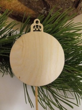 Wooden Christmas decorations Natural baubles on the peak 20 cm-3 pcs / pack