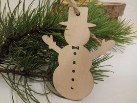 Wooden Christmas decorations, Snowmen, wooden Christmas tree decorations 10 cm-4 pcs / pack