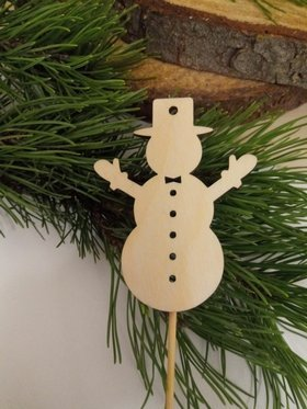 Wooden Christmas decorations. Wooden snowmen on the peak 22cm-3 pcs / pack