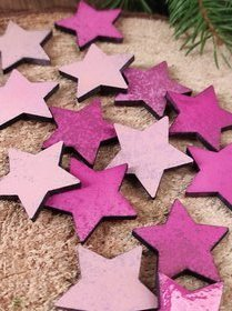Wooden Christmas decorations, Wooden stars 3 cm-12 pcs / pack