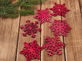 Wooden Christmas decorations, Wooden stars 9 cm-4 pcs / pack