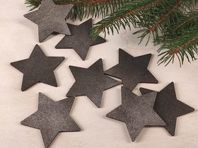 Wooden Christmas decorations, Wooden stars GRAPHITE 6 cm-6 pcs / pack