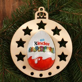Wooden Christmas ornament, Christmas tree pendant 120 mm / 3 pcs