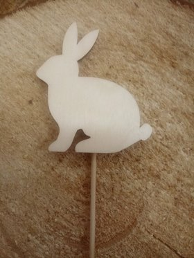 Wooden Easter decoration, Easter bunny on a peak 8 / 20cm 3 pcs.