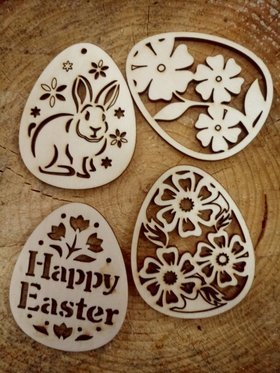 Wooden Easter eggs, Spring festive tags 80 mm / 4 pcs.