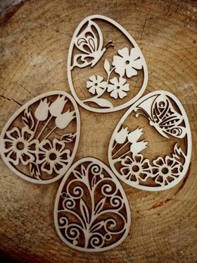 Wooden Easter eggs wz. 2. Christmas spring pendants 80 mm / 4 pcs.