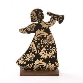Wooden angel with suede gold applique, 22x15 cm