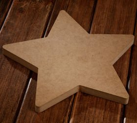 Wooden bleached star 4cm/15cm