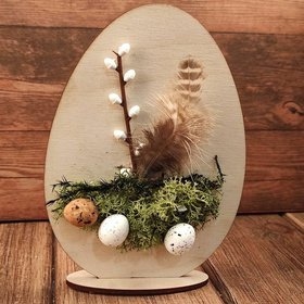 Wooden egg decorated - Easter headdress 15 cm
