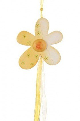 Wooden flower pendant yellow / white 18/80 cm