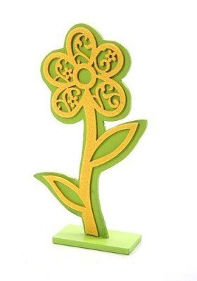 Wooden flower with felt applique - yellow ca. 25 cm