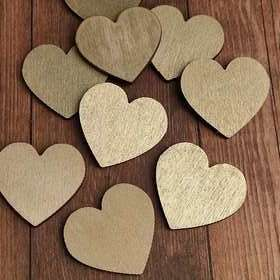 Wooden golden hearts 12 pcs / pack PROMOTION