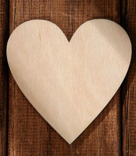 Wooden heart 6pcs/pk 6 cm