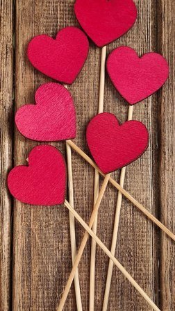 Wooden  hearts 6 pcs / pack PROMOTION