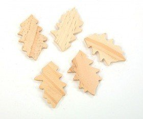 Wooden leaves, 12 pcs/pkg