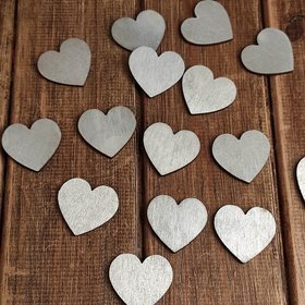 Wooden silver hearts 12 pcs / pack PROMOTION