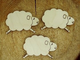 Wooden spring decoration, self-adhesive wooden sheep / 3 pcs.