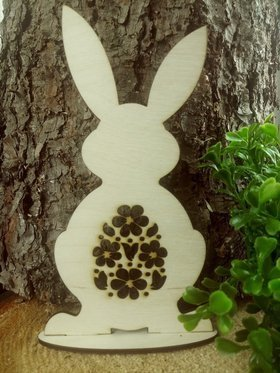 Wooden standing hare 15 cm