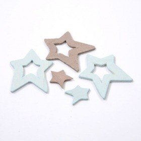 Wooden stars 1,5 - 4 cm blue-gray 36 pcs / set