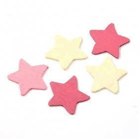 Wooden stars 3 cm cream, violet, pink 30 pcs/set