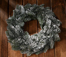 Wreath of Siberian spruce lightly silvered ca.30cm