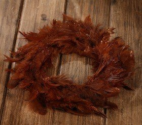 Wreath of feather brown 20-25cm