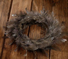 Wreath of feather graphite 20-25cm