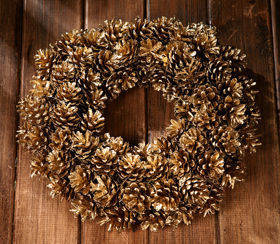 Wreath of gold cones  ca.30cm