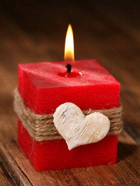 candle with birch heart 50/50  mm