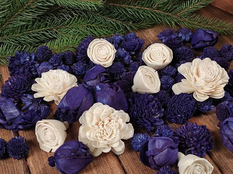 Dried salt flowers 45-50 pcs / pack - navy blue and white