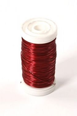 Floral copper wire on spool 75g - red
