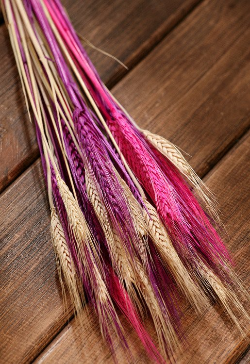 Grains, 30-40 ears, ca. 40 cm, natural-pink-purple set