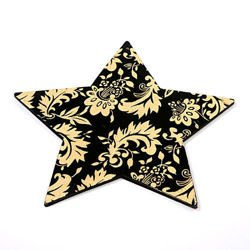 Hanger, Black wooden decorative star with golden ornaments 16 cm