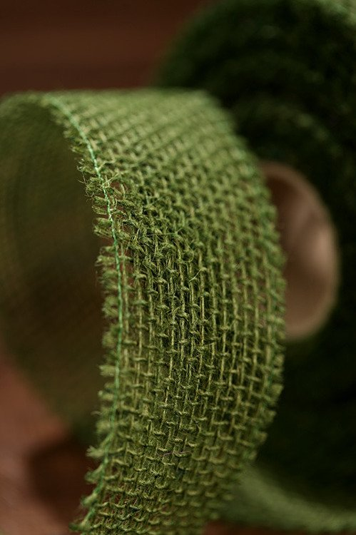 Jute ribbon 5 cm / 5 m green