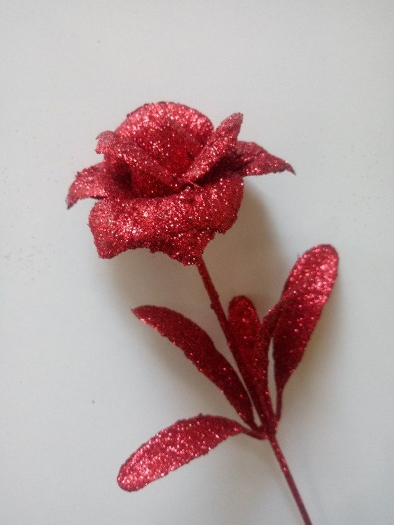 ROSE WITH GLACES flower branch artificial leaf RED 28cm